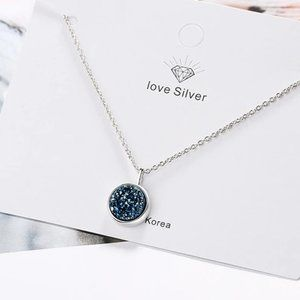 NEW 925 Sterling Silver Blue Crystal Necklace